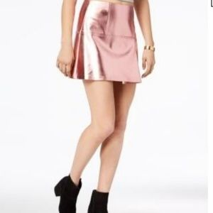 NWOT--Fun metallic pink faux leather mini skirt
